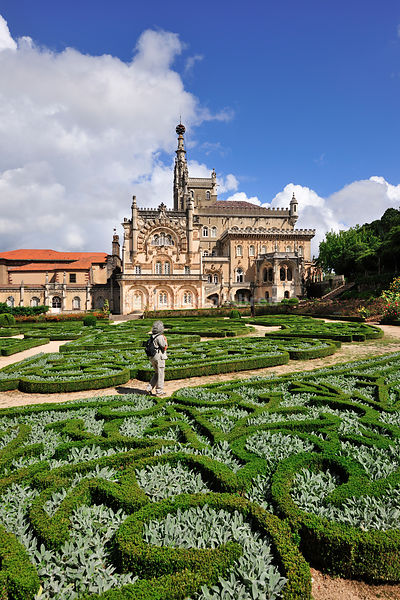Bussaco Palace Hotel and gardens, a royal fairy tale hotel, built in 1885. Located in the middle of the Bussaco National Forest, it is one of the most beautiful and historic hotels in the world. Portugal (MR) (no property release)
