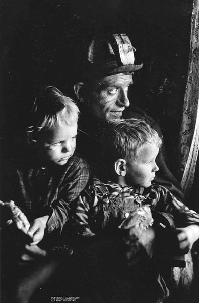 Coal miner and two children