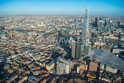 Aerial view of London, Southwark, London Bridge Station towards City of London skyline.