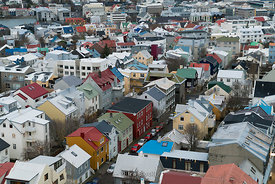 Downtown center of Reykjavik, Iceland.