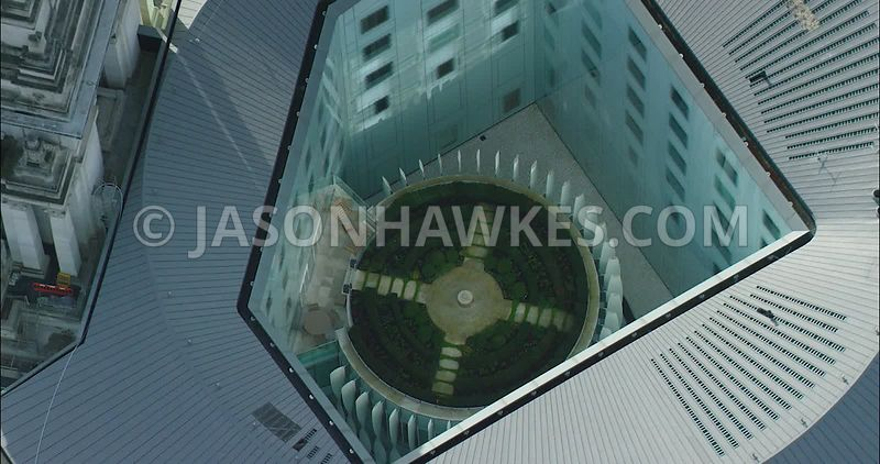 London Aerial footage, Four Seasons at Ten Trinity Square Hotel close up.