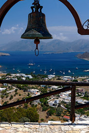 View looking towards Kalymnos Island from Lepidhon Castle or Paliokastro, Xsirocambos or Ksirokambos, Leros, Dodecanese Islands, Greece.