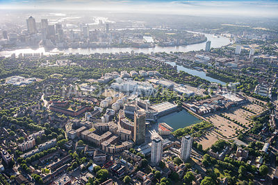 Aerial view of London, Surrey Quays and Canada Water.