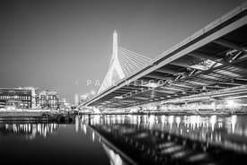 Boston Zakim Bridge at Night Black and White Photo