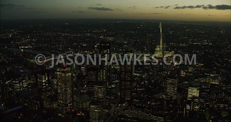 London Aerial Film of The Shard and City skyline at night.