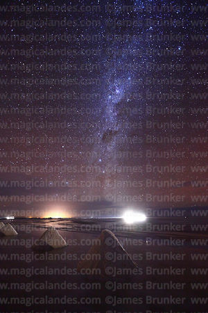 Salt cones and Milky Way, Salar de Uyuni, Bolivia
