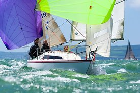 K24, Huckleberry FIn, H Boat, IRC3, racing in the International Paint Poole Regatta 2014