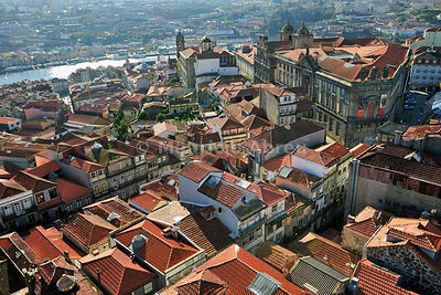 The old districts of Oporto overlooking the Douro river, a Unesco World Heritage Site. Portugal