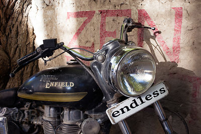 "Royal Enfield with plate reading ""Endless,"" Leh, Ladakh, India"