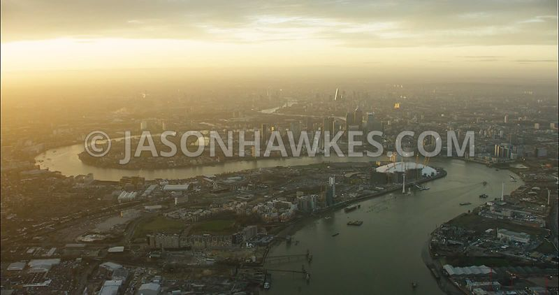 London Aerial Footage of Greenwich with O2 Arena.