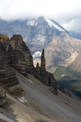 Looking past talus slopes from Sentinel Pass, Banff NP, Canadian Rockies.