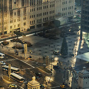 View of Pioneer Court, Tribune Tower and the DuSable Bridge, Chicago, Illinois, USA