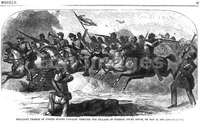 U.S. Cavalry charges at Fairfax Court House on May 31, 1861