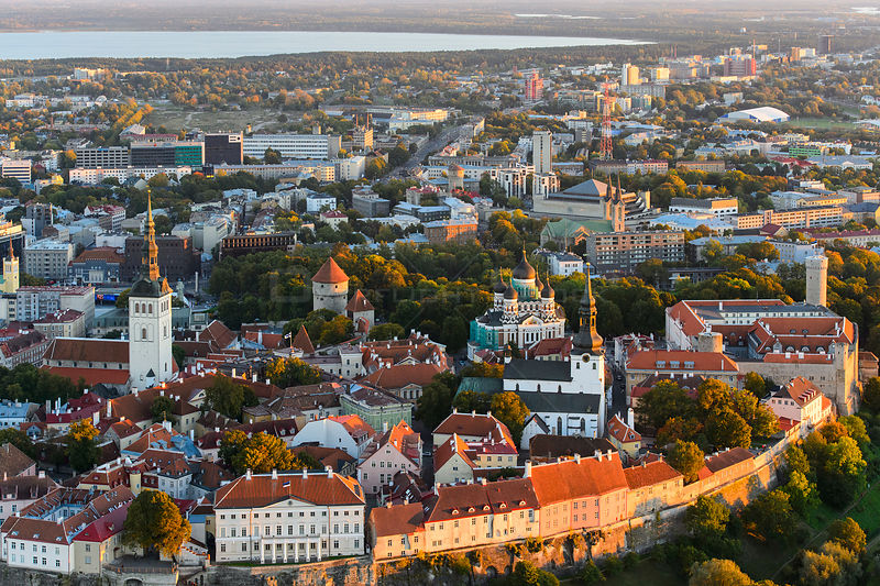 Aerial view of Tallinn Old Town, from the left St. Nicholas Church, St. Mary's Cathedral and Alexander Nevsky Cathedral