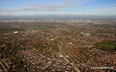 aerial photograph of  Didsbury, Manchester England UK
