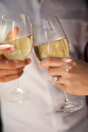 Newly engaged couple cheering with wine glasses