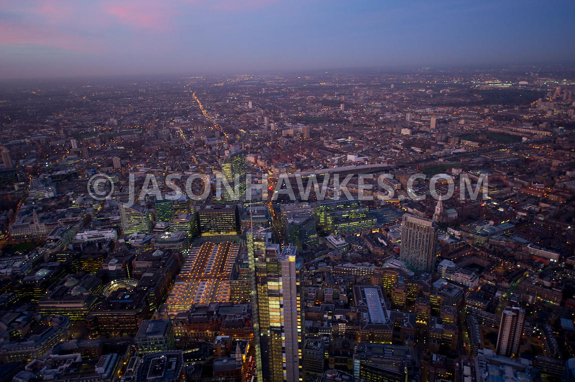 Aerial view over Liverpool Street Station at dusk, London