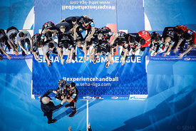 Medal ceremony during the Final Tournament - Final Four - SEHA - Gazprom league, Gold Medal Match Vardar - Telekom Veszprém, Belarus, 09.04.2017, Mandatory Credit ©SEHA/ Stanko Gruden..