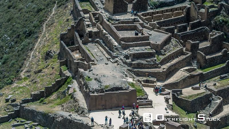Temple of the Sun, Ollantaytambo Sanctuary, Ancient Incan City, Inka Watana, Ollaytantambo seen by drone
