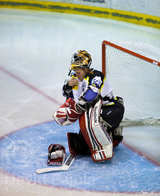 Slovak goalkeeper Andrej Beliansky (CGP) during a match of the Spanish Ice Hockey Super League (Superliga Española de Hockey Hielo) between Club Gel Puigcerdà and FC Barcelona