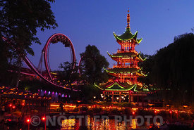 Tivoli Gardens Chinese tower and boating lake