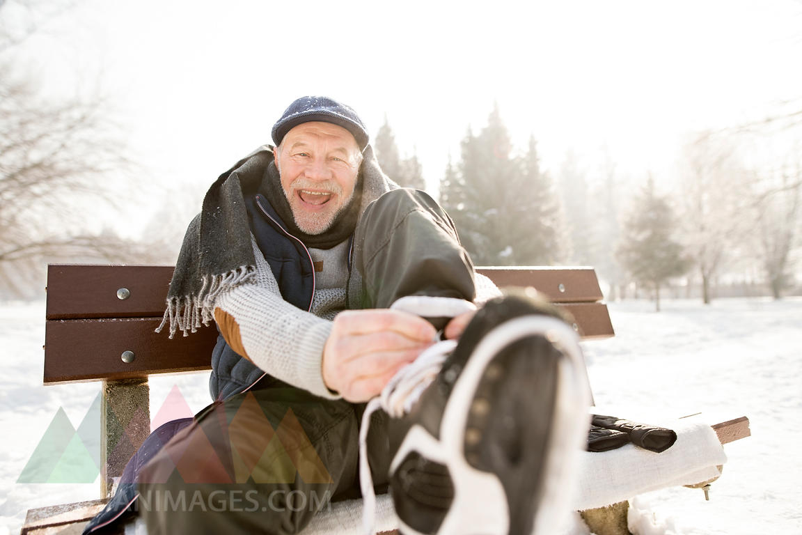Portrait of happy senior man sitting on bench in winter landscape putting on ice skates