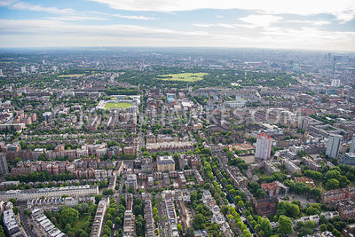 Aerial view of London, Lords Cricket Ground and Lisson Grove, St John's Wood.