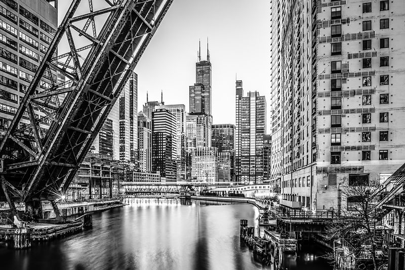 Chicago Kinzie Railroad Bridge Black and White Photo