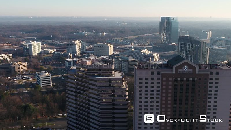 Tysons, Virginia, USA. Slow pan across the RitzCarlton with the beltway in the background