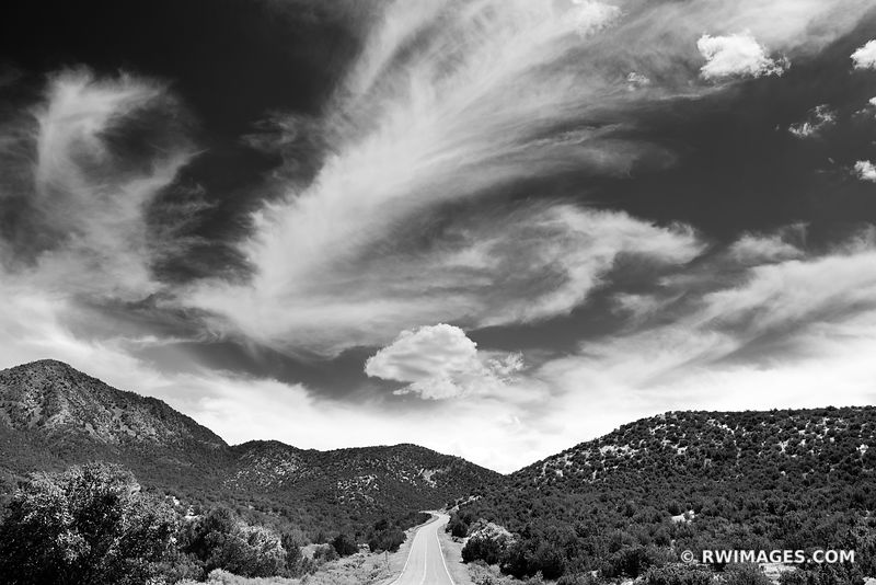 DRIVING TURQUOISE TRAIL NEW MEXICO BLACK AND WHITE