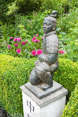 Statue of a terracotta warrior from Xi'an crouching on a pedestal marked with the word 'China', framed by clipped box hedge backed with dahlias. Beggars Knoll, Newtown, Westbury, Wiltshire, UK