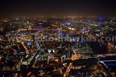 Aerial view over Newington at night, London