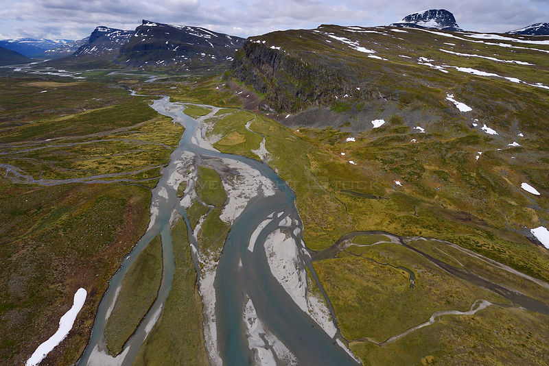 Aerial view of the Vietasatno River in mountainous valley near its source, Stora Sjofallet National Park, Greater Laponia Rewilding Area, Lapland, Norrbotten, Sweden, June 2013.