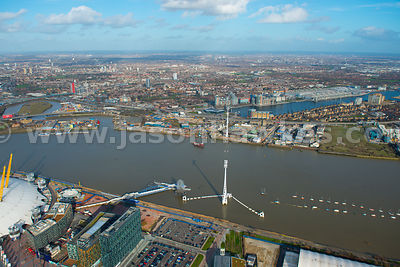 Aerial view of Emirates Airline Cable Car, East London