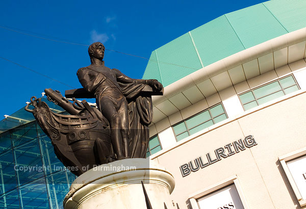 The Statue of Horatio Nelson at the Bullring Shopping Centre, Birmingham, West Midlands, England, UK