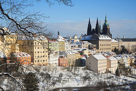Prague Castle with the Saint Vitus Cathedral and Hradcany from Strahov Garden, Prague, Czech Republic