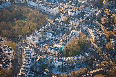 Aerial view of London, Wilton Crescent and Wilton Place.