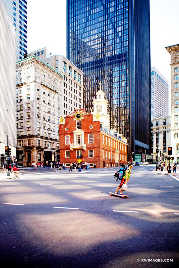 OLD STATE HOUSE BUILDING BOSTON DOWNTOWN STREET COLOR VERTICAL