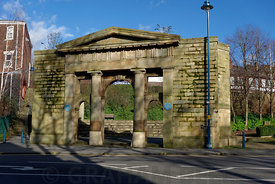 Portico of the former Town Hall, Stalybridge, Manchester, Cheshire, England, UK.