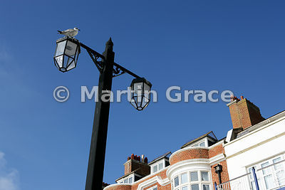 Ornate street lamp against clear blue sky, Sidmouth, south Devon, England