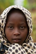 Young Rwandan girl with headscarf on