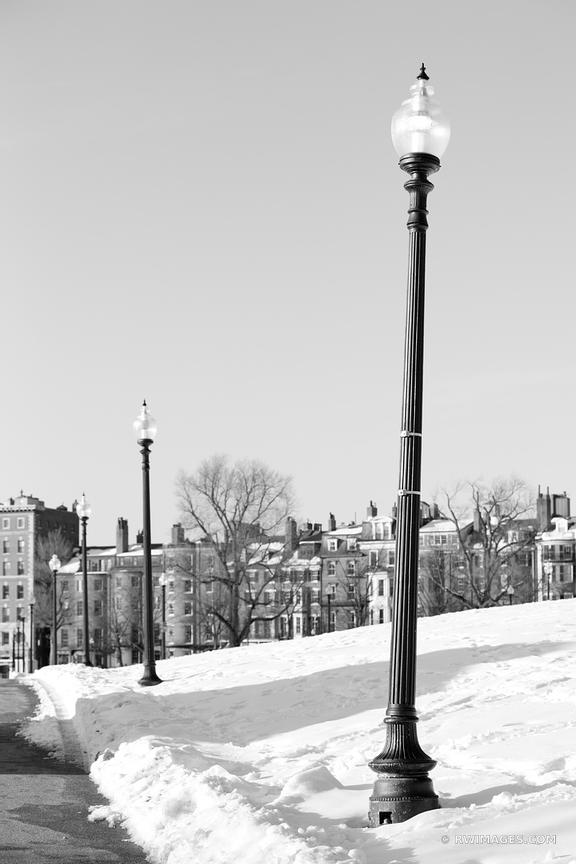 BOSTON PUBLIC GARDEN AND BEACON HILL WINTER BLACK AND WHITE