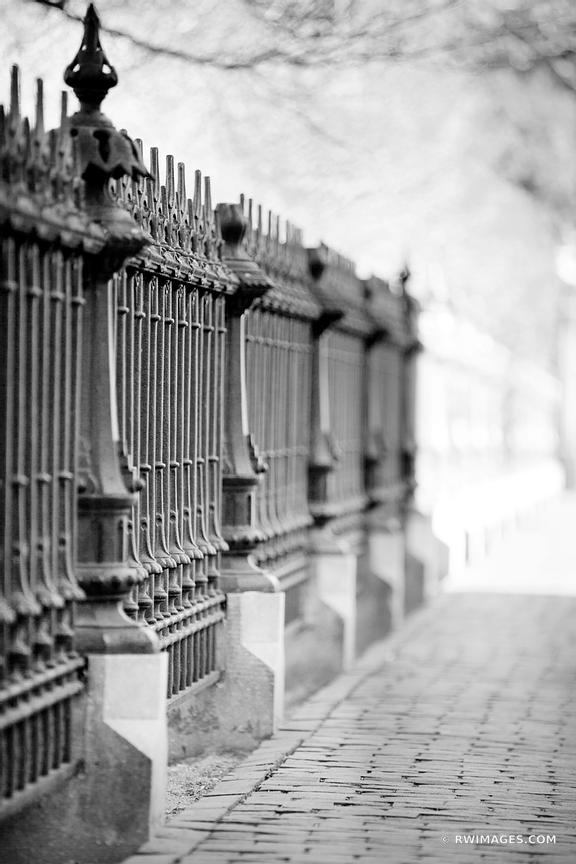 PUBLIC GARDEN IRON FENCE BOSTON BLACK AND WHITE VERTICAL