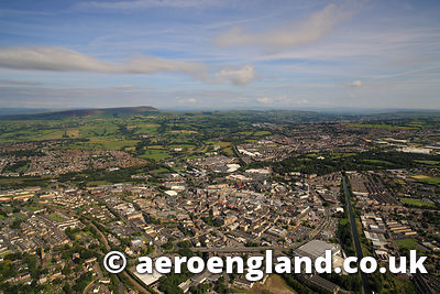 aerial photograph of  Burnley Lancashire England