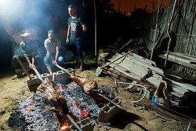 A lamb roast for Eid Al-Adha festival around Saidia beach in Berkane on the Moroccan-Algerian border in Morocco.