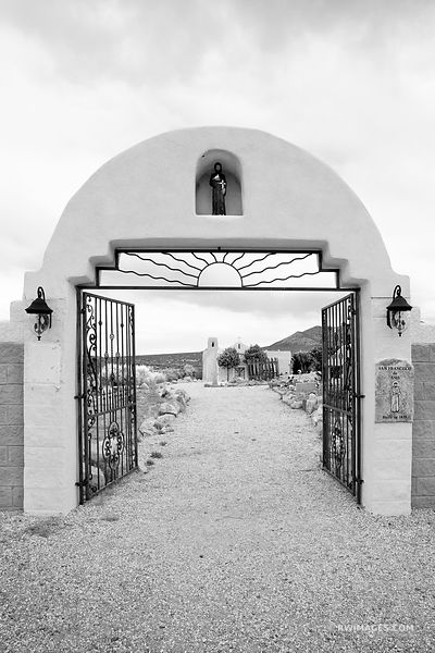 TURQUOISE TRAIL SAN FRANCISCO DE ASIS CHURCH GOLDEN NEW MEXICO BLACK AND WHITE VERTICAL