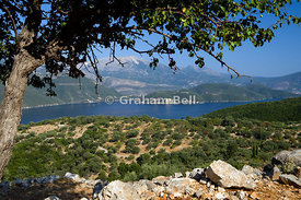 View from Meghas Birnos Hill near Spartohori across the Meganisi straights to the island of Lefkas, Ionian Islands, Greece.