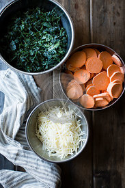 Ingredients for a sweet potato galette