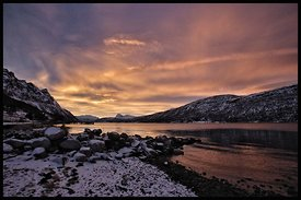 Sunrise in Lavangsnes, Norway