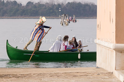Man dressed as a Mexican in the Venice Carnival Water Parade  on the Rio di Cannaregio Canal